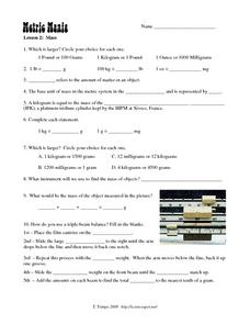 Metric Mania-Mass Worksheet
