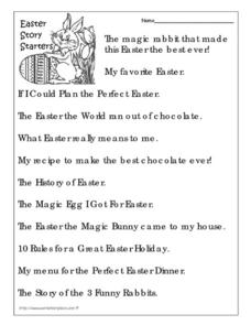 Easter Story Starters Worksheet