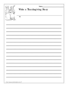 Write a Thanksgiving Story Worksheet