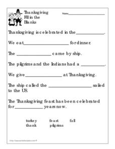 Thanksgiving Fill in the Blanks Worksheet