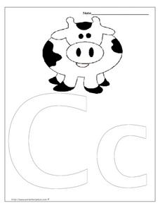 Letter Cc is for Cow Worksheet