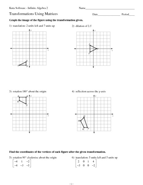 Transformations Using Matrices Worksheet For 10th Grade