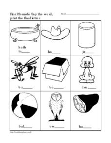 Final Sounds: Say the Word and Print the Letter 4 Worksheet