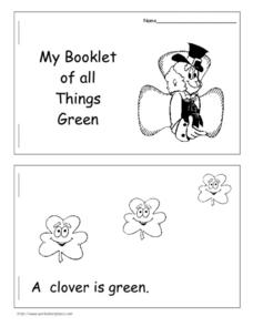 My Booklet of all Things Green Worksheet