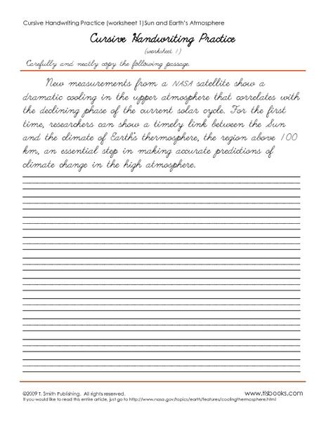 Cursive Handwriting Practice Worksheet 1-5 Worksheet for 2nd ...