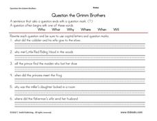 Question the Grimm Brothers Worksheet