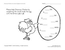 Chauncey Chicken and Consonant Digraphs Worksheet