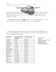 How Much are You Worth? Worksheet