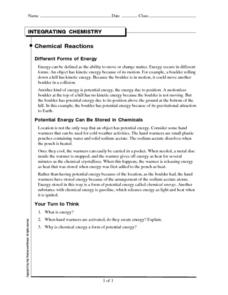Integrating Chemistry-Chemical Reactions Worksheet