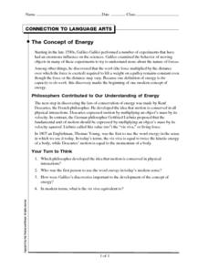 The Concept of Energy Worksheet