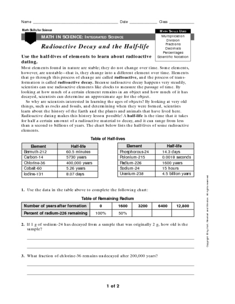 Math In Science Radioactive Decay And Half Life Worksheet For 9th