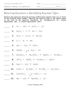 Balancing Equations and Identifying Reaction Types Worksheet