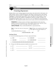 Creating Exponents Worksheet