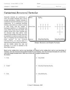 Organic Chemistry-Condensed Structural Formulas Worksheet