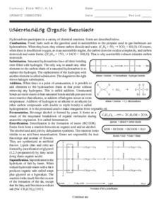 Organic Chemistry-Understanding Organic Reactions Worksheet for 9th ...