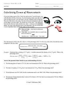 Calculating Errors of Measurement Worksheet