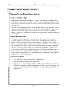 Human Tools: From Stone to Iron Worksheet