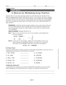 A Shortcut for Multiplying Large Numbers Worksheet