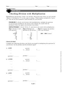 Checking Division with Multiplication Worksheet