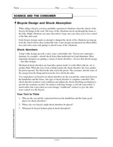 Bicycle Design and Shock Absorption Worksheet