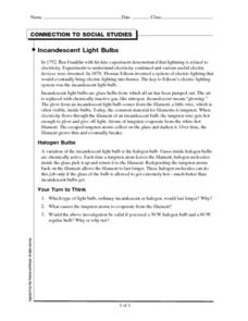 Incandescent Light Bulbs Worksheet