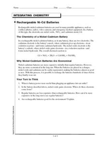 Rechargeable Ni-Cd Batteries Worksheet
