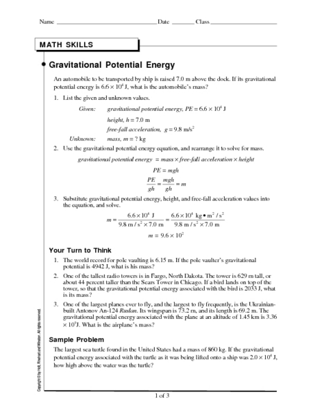 Gravitational Potential Energy Worksheet for 9th - 12th ...