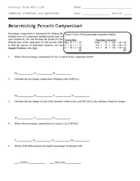 Determining Percent Composition 9th - 12th Grade Worksheet ...