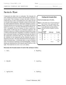 Formula Mass Worksheet