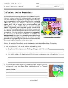 Collisions Drive Reactions Worksheet