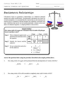Stoichiometric Relationships Worksheet