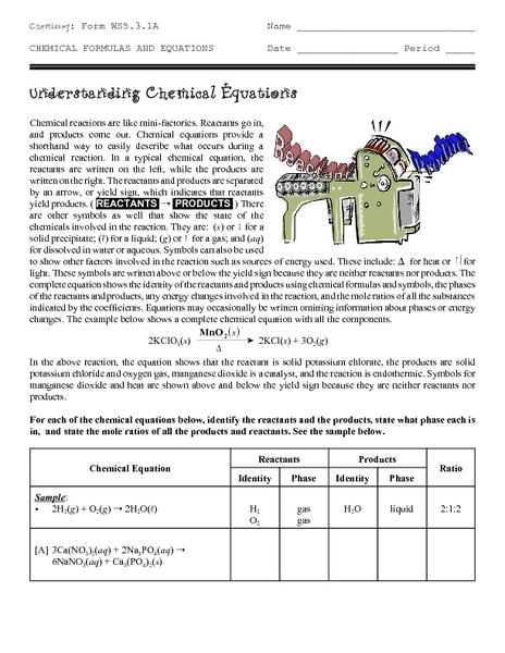 understanding chemical equations worksheet free worksheets library download and print. Black Bedroom Furniture Sets. Home Design Ideas
