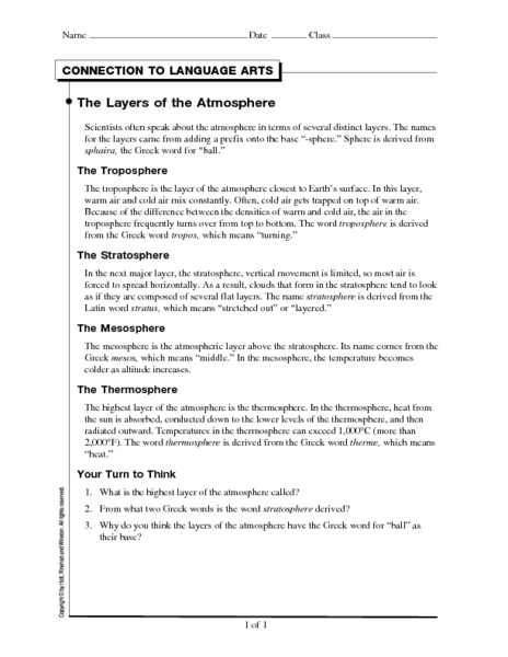 The Layers Of The Atmosphere Worksheet For 6th 10th