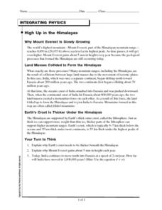High Up in the Himalayas Worksheet