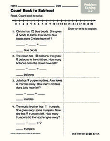 count back to subtract problem solving worksheet for st  nd  count back to subtract problem solving worksheet