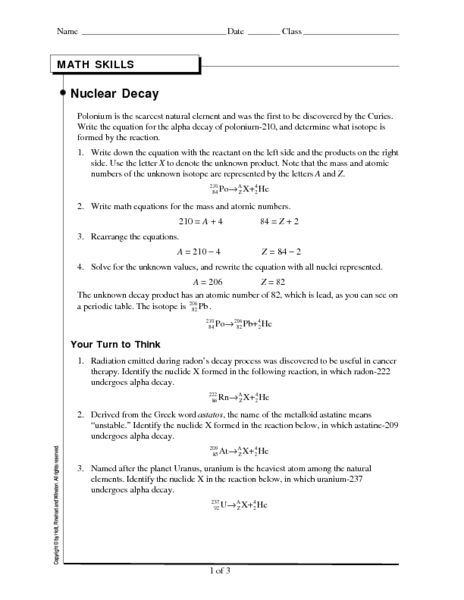 Nuclear Decay 9th - 12th Grade Worksheet | Lesson Planet