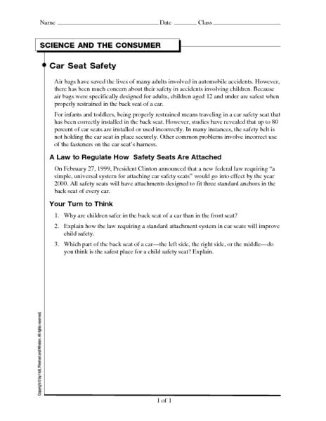 car seat safety worksheet for 6th 8th grade lesson planet. Black Bedroom Furniture Sets. Home Design Ideas