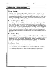 Wave Energy Worksheet