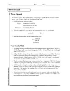 Wave Speed Worksheet
