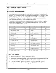 Calories and Nutrition Worksheet