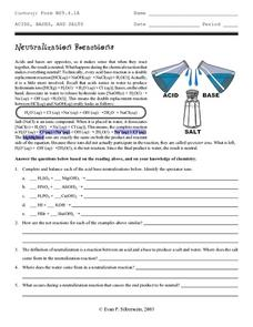 Neutralization Reactions Worksheet for 9th - 12th Grade | Lesson Planet