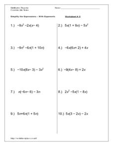Simplify the Expressions-With Exponents Worksheet #5 Worksheet