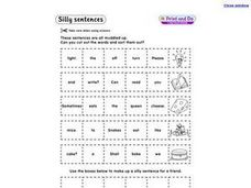 Silly Sentences- Sorting Words Worksheet