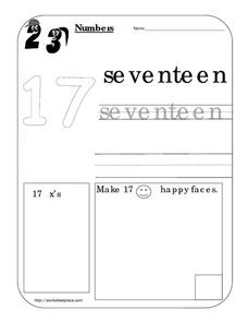 Number Recognition - 17 - Seventeen Worksheet