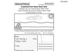 End Clusters with Penultimate I - A Post Card From Never Never Land Worksheet