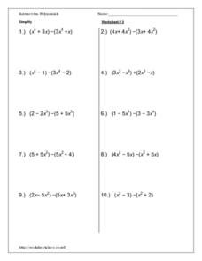 Subtract Polynomials Worksheet