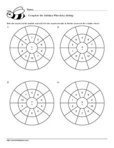 Addition Wheels, Facts to 15: #2 Worksheet