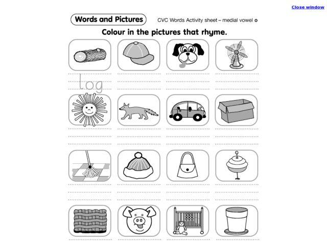 Rhyming Consonant Vowel Consonant Words Kindergarten - 1st Grade ...