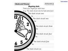 Rhyming Clock Worksheet