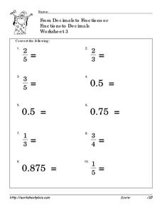 From Decimals to Fractions or Fractions to Decimals Worksheet 3 Worksheet